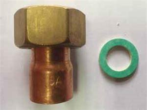 Изображение Американка с накидной гайкой ∅15х1/2' SANHA для медных труб
