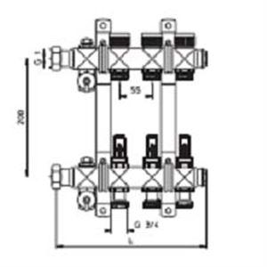 """Изображение Коллектор с расходамерами для тёплого пола на 6 контура OVENTROP """"Multidis SF"""" 140 41 56"""