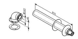 Изображение Коаксиальный  горизонтальный комплект  для отведения дымовых газов Ø60/100  (815 мм)