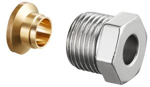 """Изображение Ofix CEP присоед. набор со стяж. кольцом для ВР 3/8""""x12мм,для медной трубы,никелир., Oventrop 1027152"""